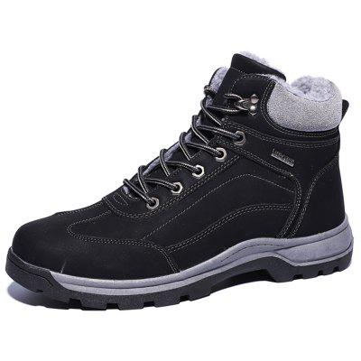 AILADUN Male Plus Velvet Slip Resistant Casual Boots Outdoor Sports Shoes Striped Laces