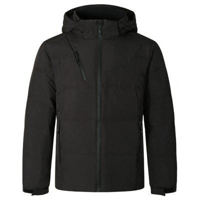 Men's Solid Color Hooded Down Coat Unique Pocket Zipper Design Long-sleeved Jacket
