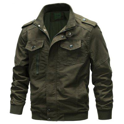 Mannen dikke katoenen Uniform jas effen kleur Outdoor Leisure Jacket