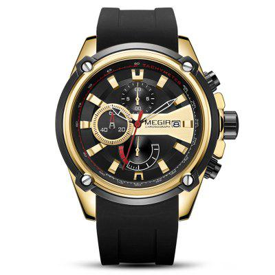 MEGIR Mannen Drie Eye Multi-functioneel horloge siliconen band Quartz horloges