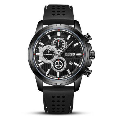 Megir Heren Multi-function Big Dial horloge Fashion Duurzaam Comfortabele siliconen band