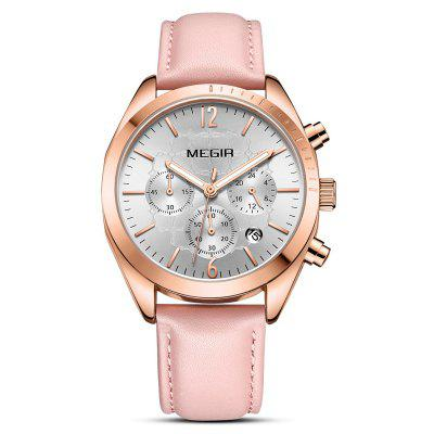 Megir Women Fashion Easy-match Multi-function Quartz Watch Calendar Chronograph Wristwatch Durable Genuine Leather Band