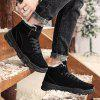 Men's Winter Keep Warm Snow Boots Lace Up + Hook / Loop Casual Slip Resistant Shoes - BLACK