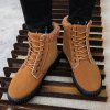 Men's Casual Fashion Winter Snow Boots Leisure Lace-up Shoes Decorative Belt Buckle - BROWN
