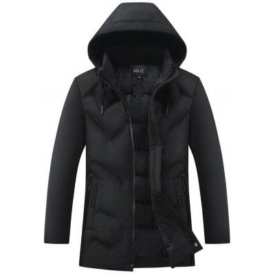 Men's Winter Solid Color Hooded Down Coat Leisure Zipper Jacket with Pockets