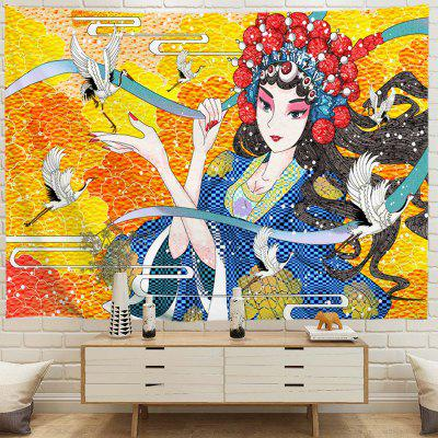 Crane and Opera Girl Background Tapestry Digital Printing