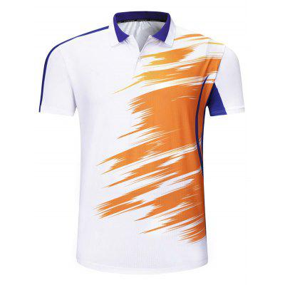 Men Graffiti Style Printing T-shirt Turn-down Collar Breathable Short-sleeved Top Volleyball Sportswear