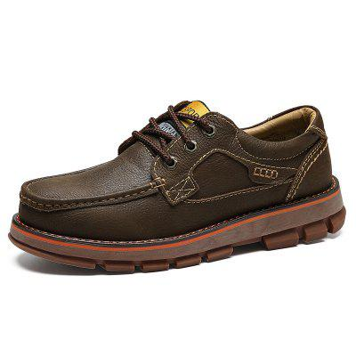 AILADUN Men's Retro Low-top Big Toe Casual Shoes Thick Outsole Full Grain Leather Tooling Footwear