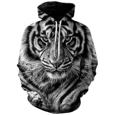 Men Lion Tiger Animal Hoodie Vivid 3D Digital Printing Sweater Casual Pullover