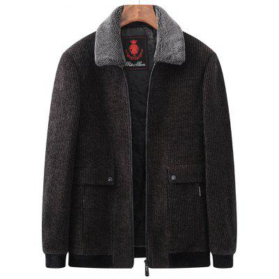 Men's Winter Thick Jacket Furry Collar Zipper Coat