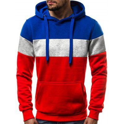 Men's Casual Striped Stitching Hoodie Printing Pullover with Drawstring
