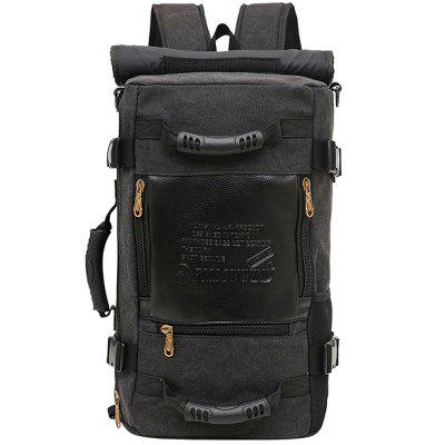 Men Canvas Fashion Stikkende Backpack Easy-match Student Bag