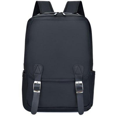 Men's Double Pin Buckle Backpack Solid Color Fashion Student Laptop Bag