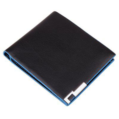 Men's Short Soft Wallet Blue Lines Money Clip Creative Card Pack