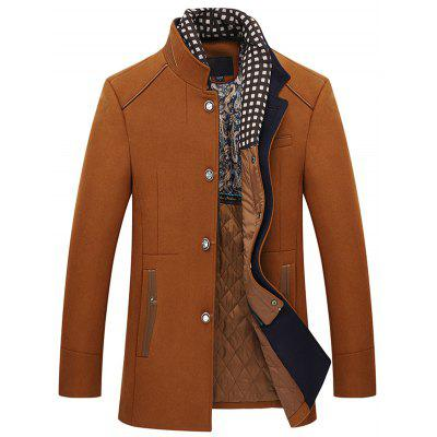 Men's Stitching Warm Long Woolen Coat Winter Fashion Slim Stand Collar Outerwear with Detachable Scarves