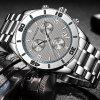 OCHSTIN 6113 Men's Stainless Steel Band Three Eye Watch Multi-functional Business Wristwatch - GRAY