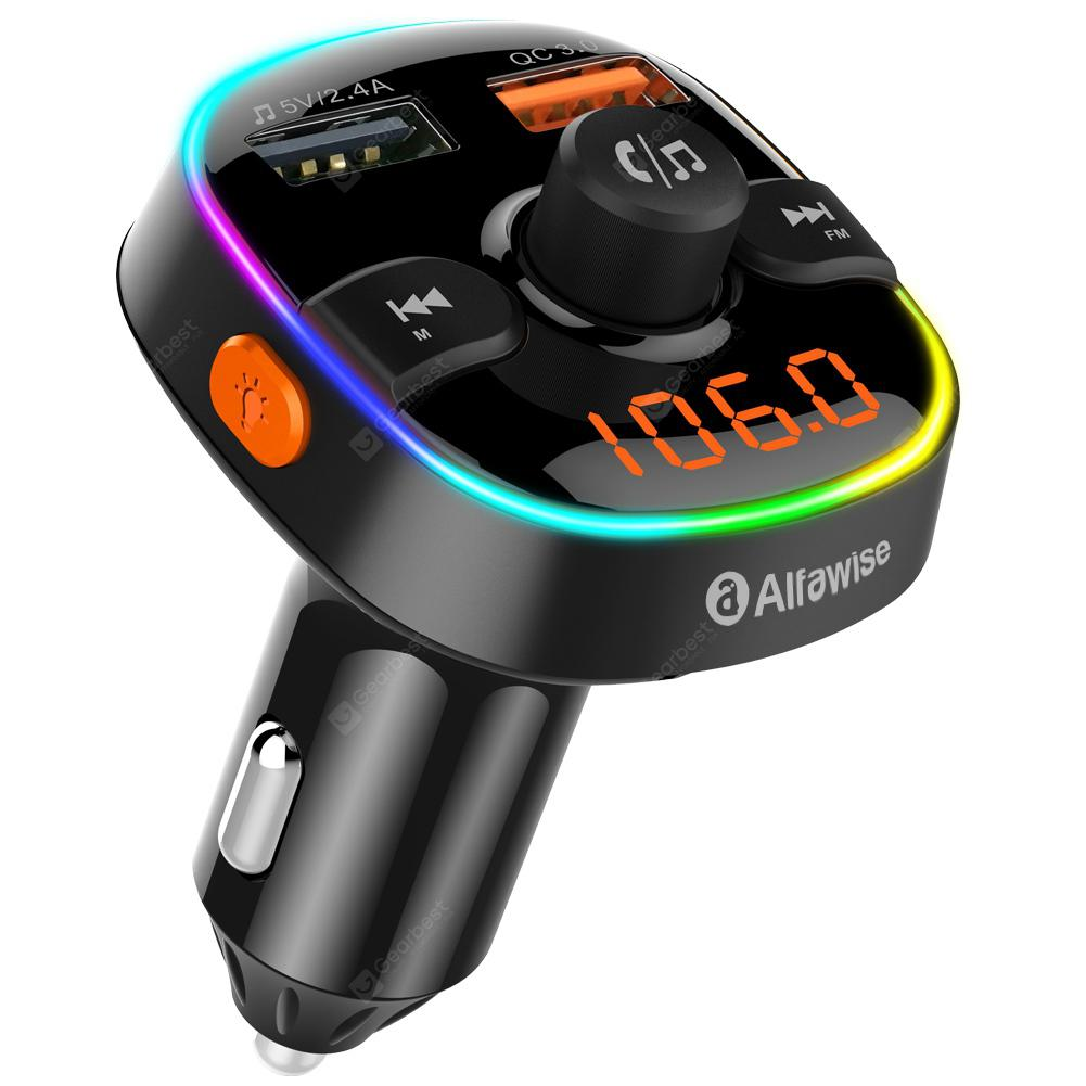 Alfawise QC3.0 Bluetooth 5.0 FM Transmitter RGB light Car Charger