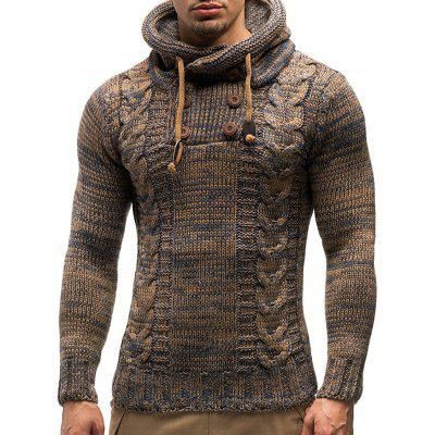Men's Fashion Slim Hooded Sweater Half Double-breasted Knit Shirt Fried Dough Twist