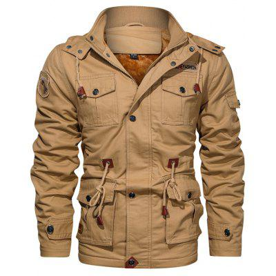 Men's Autumn Winter Fashion Plus Velvet Jacket Solid Color Multi-pocket Top Hooded Tactical Outdoor Clothing