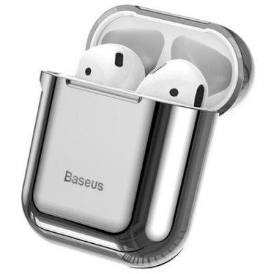 Baseus Glossy Shining Plating Protective Cover Portable Earphone Storage Case for AiPods with Anti-lost Sport Hook