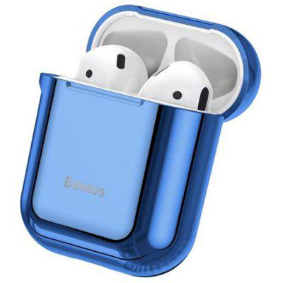 Baseus Glossy Shining Plating Protective Cover Portable Earphone Storage Case voor AiPods met Anti-lost Sport Hook
