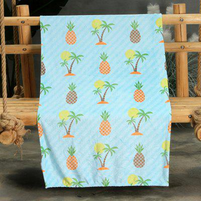 Pineapple Tropical Tree Pattern Double-sided Flannel Home Nap Warm Blanket