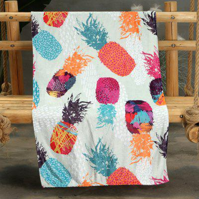 Color Pineapple Pattern Double-sided Flannel Home Nap Warm Blanket