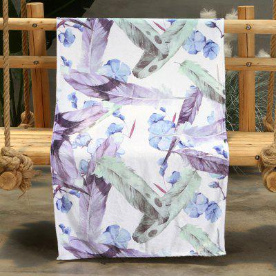 Purple Feather Pattern Double-sided Flannel Home Nap Warm Blanket