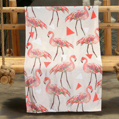 Flamingo Pattern Double-sided Flannel Home Nap Warm Blanket