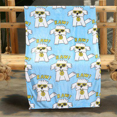 Cartoon Puppy Pattern Double-sided Flannel Home Nap Warm Blanket