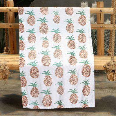 Cartoon Pineapple Pattern Double-sided Flannel Home Nap Warm Blanket