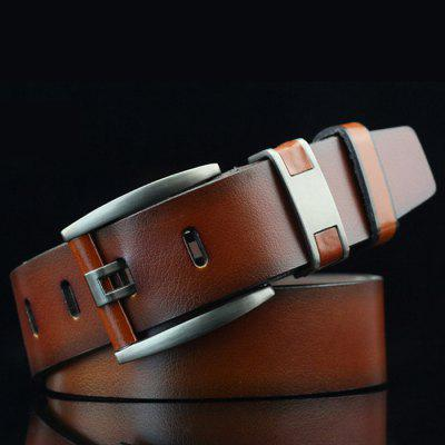 Men's Solid Color Retro Bold Belt Wide Easy-match Pin Button Waistband