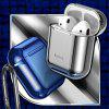 Baseus Glossy Shining Plating Protective Cover Portable Earphone Storage Case for AiPods with Anti-lost Sport Hook - BLUE