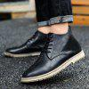 AILADUN Men England Microfiber Leather Upper Casual Shoes Pointed Toe Lace-up Slip Resistant Boots - BLACK
