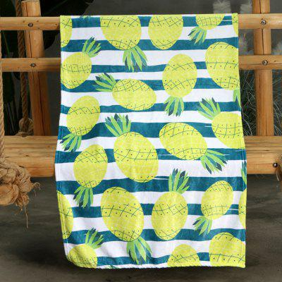Yellow Pineapple Pattern Double-sided Flannel Home Nap Warm Blanket