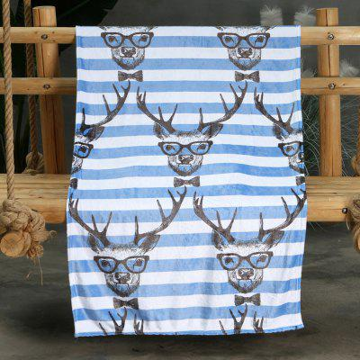 Glasses Deer Pattern Double-sided Flannel Home Nap Warm Blanket