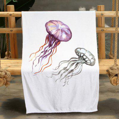 Jellyfish Parallel Pattern Double-sided Flannel Home Nap Warm Blanket