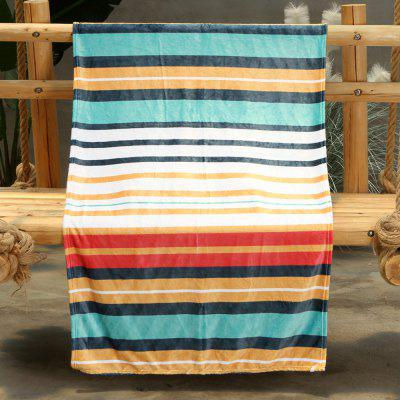 Colorful Striped Pattern Double-sided Flannel Home Nap Warm Blanket