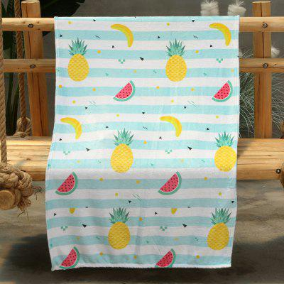 Watermelon Pineapple Banana Pattern Double-sided Flannel Home Nap Warm Blanket