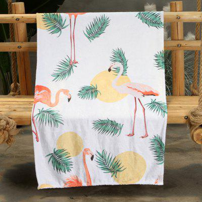 Tropical Foliage Flamingo Pattern Double-sided Flannel Home Nap Warm Blanket