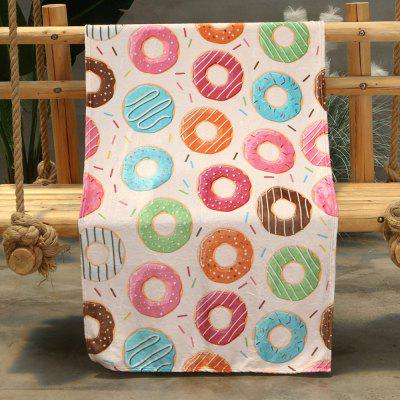 Donut Pattern Double-sided Flannel Home Nap Warm Blanket