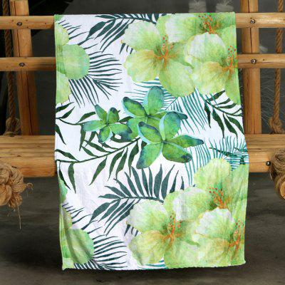Green Leaves Flowers Double-sided Flannel Home Nap Warm Blanket