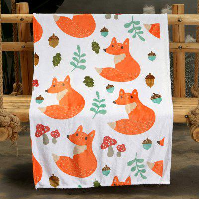 Cartoon Fox Double-sided Flannel Home Nap Warm Blanket