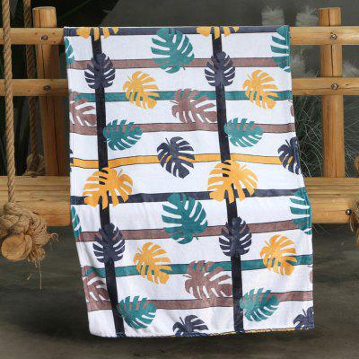 Yellow Green and Black Tricolor Tropical Leaves Double-sided Flannel Home Nap Warm Blanket