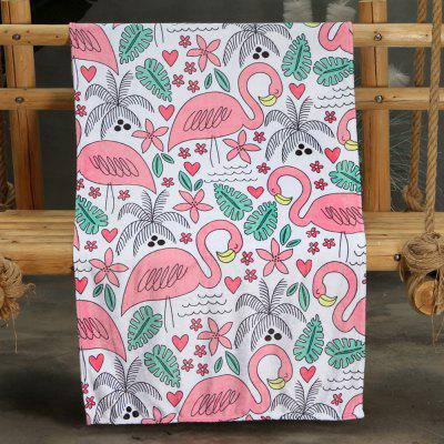 Pink Flamingo Pattern Double-sided Flannel Home Nap Warm Blanket