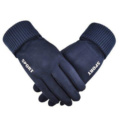 Männliche Winter Faux Wildleder Handschuhe Plus Samt Warmer Voller Finger Handschuh Touchscreen Anti-Rutsch