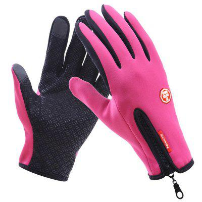 Zipper Plus Velvet Touch Screen Gloves Male Winter Warm Waterproof Non-slip Outdoor Riding Full Finger Female Sport Ski Gloves LS1477