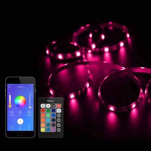 Sonoff L1 Dimmable Smart Wifi Rgb Led Light Strip Work With Alexa Google Home For Party And Room Decoration Eu Us Uk Plug
