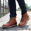 AILADUN Man High-top British Style Thick Outsole Boots Stitching Lace-up Leisure Shoes - LIGHT BROWN