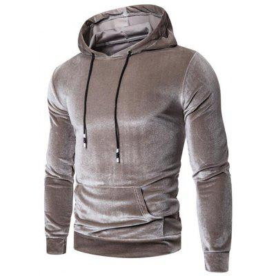 Men's Herfst Winter Furry Solid Color Hoodie Straat Gepersonaliseerde Trui Hooded Sweater met Pocket